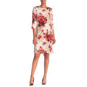 St. John Collection Silk Floral Print Midi Dress 0